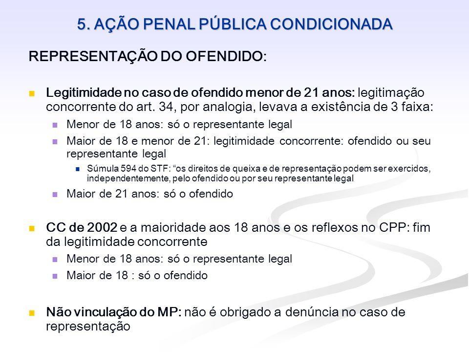 5. AÇÃO PENAL PÚBLICA CONDICIONADA REPRESENTAÇÃO DO OFENDIDO: Legitimidade no caso de ofendido menor de 21 anos: legitimação concorrente do art. 34, p