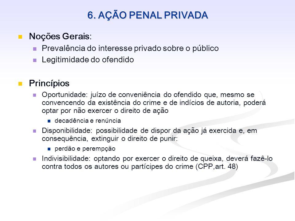 6. AÇÃO PENAL PRIVADA Noções Gerais: Prevalência do interesse privado sobre o público Legitimidade do ofendido Princípios Oportunidade: juízo de conve