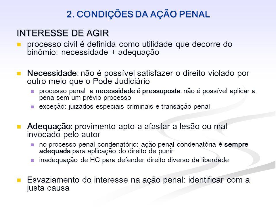 2. CONDIÇÕES DA AÇÃO PENAL INTERESSE DE AGIR processo civil é definida como utilidade que decorre do binômio: necessidade + adequação Necessidade: não