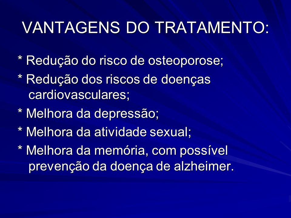 VANTAGENS DO TRATAMENTO: * Redução do risco de osteoporose; * Redução dos riscos de doenças cardiovasculares; * Melhora da depressão; * Melhora da ati