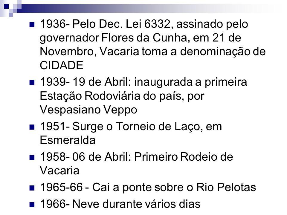 1936- Pelo Dec. Lei 6332, assinado pelo governador Flores da Cunha, em 21 de Novembro, Vacaria toma a denominação de CIDADE 1939- 19 de Abril: inaugur
