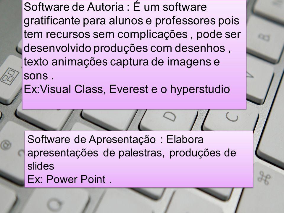 Software de Autoria : É um software gratificante para alunos e professores pois tem recursos sem complicações, pode ser desenvolvido produções com desenhos, texto animações captura de imagens e sons.