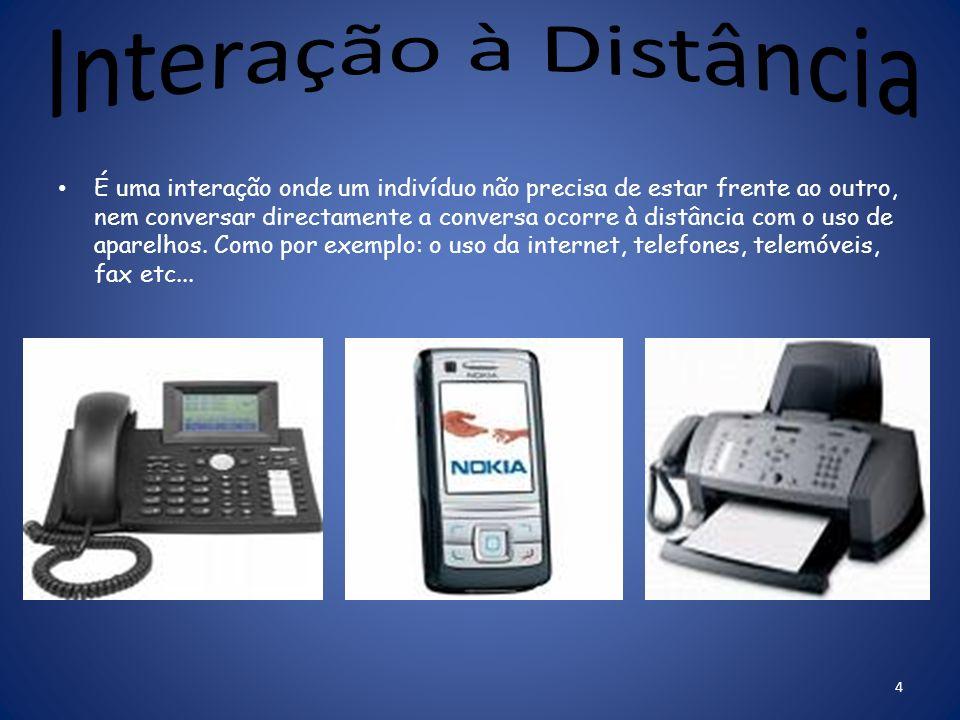 É uma interação onde um indivíduo não precisa de estar frente ao outro, nem conversar directamente a conversa ocorre à distância com o uso de aparelhos.