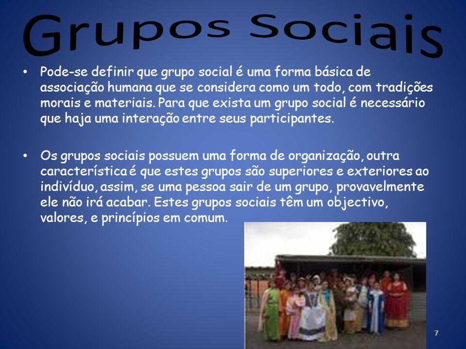 Pode-se definir que grupo social é uma forma básica de associação humana que se considera como um todo, com tradições morais e materiais.