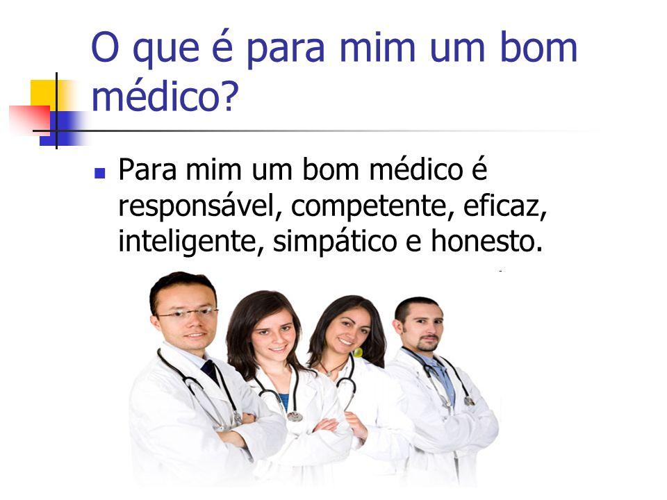 O que é para mim um bom médico? Para mim um bom médico é responsável, competente, eficaz, inteligente, simpático e honesto.