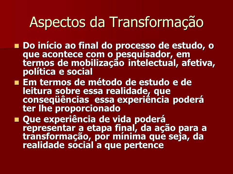 Aspectos da Transformação Do início ao final do processo de estudo, o que acontece com o pesquisador, em termos de mobilização intelectual, afetiva, p