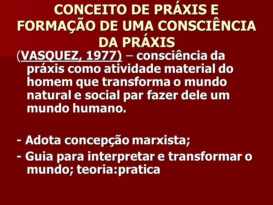 CONCEITO DE PRÁXIS E FORMAÇÃO DE UMA CONSCIÊNCIA DA PRÁXIS (VASQUEZ, 1977) – consciência da práxis como atividade material do homem que transforma o m