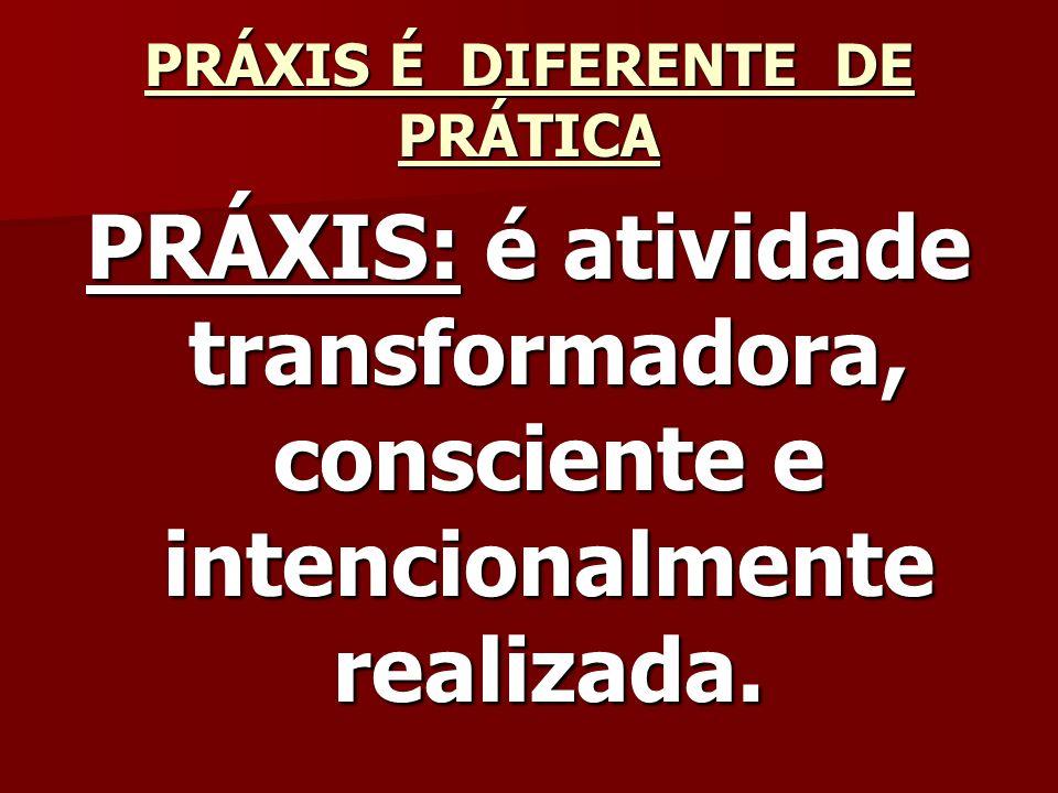 PRÁXIS É DIFERENTE DE PRÁTICA PRÁXIS: é atividade transformadora, consciente e intencionalmente realizada.