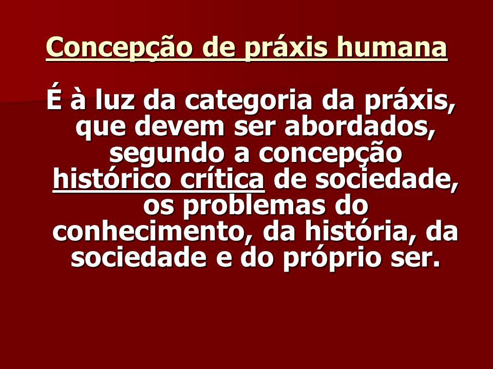Concepção de práxis humana É à luz da categoria da práxis, que devem ser abordados, segundo a concepção histórico crítica de sociedade, os problemas do conhecimento, da história, da sociedade e do próprio ser.