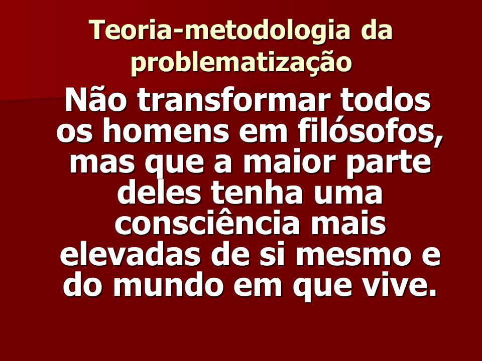 Teoria-metodologia da problematização Não transformar todos os homens em filósofos, mas que a maior parte deles tenha uma consciência mais elevadas de si mesmo e do mundo em que vive.