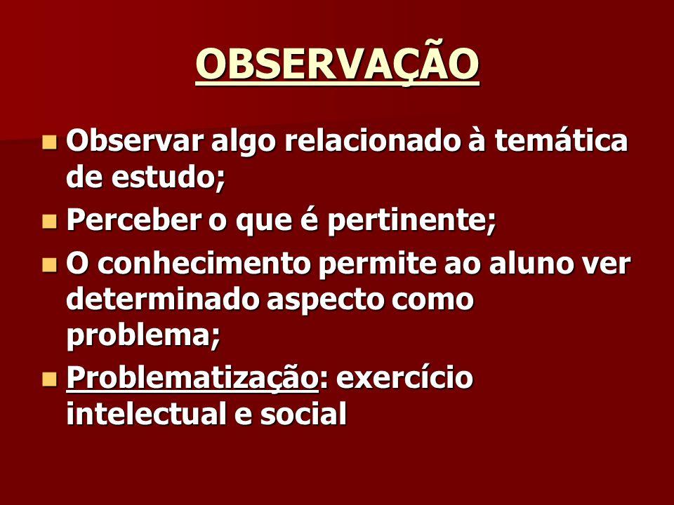 OBSERVAÇÃO Observar algo relacionado à temática de estudo; Observar algo relacionado à temática de estudo; Perceber o que é pertinente; Perceber o que