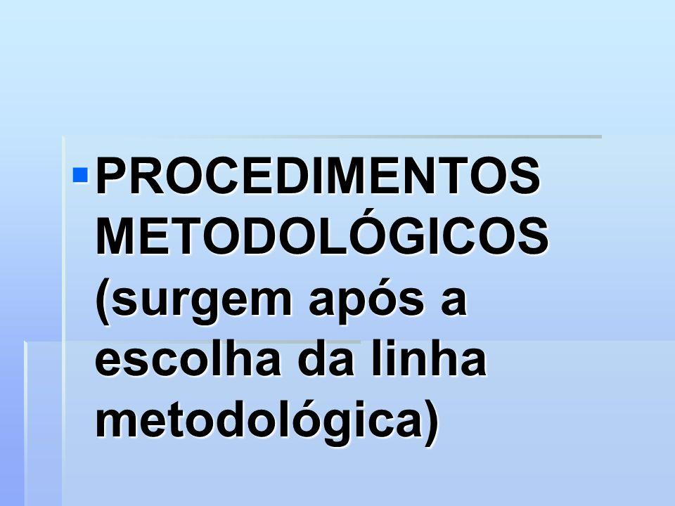 PROCEDIMENTOS METODOLÓGICOS (surgem após a escolha da linha metodológica) PROCEDIMENTOS METODOLÓGICOS (surgem após a escolha da linha metodológica)
