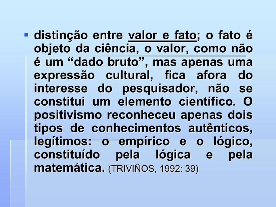 distinção entre valor e fato; o fato é objeto da ciência, o valor, como não é um dado bruto, mas apenas uma expressão cultural, fica afora do interess