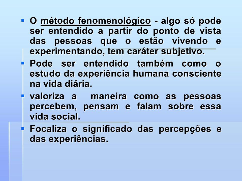 O método fenomenológico - algo só pode ser entendido a partir do ponto de vista das pessoas que o estão vivendo e experimentando, tem caráter subjetiv