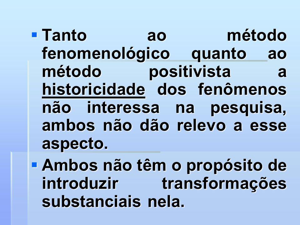 Tanto ao método fenomenológico quanto ao método positivista a historicidade dos fenômenos não interessa na pesquisa, ambos não dão relevo a esse aspec