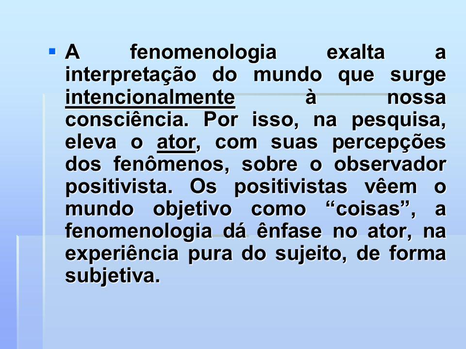 A fenomenologia exalta a interpretação do mundo que surge intencionalmente à nossa consciência. Por isso, na pesquisa, eleva o ator, com suas percepçõ