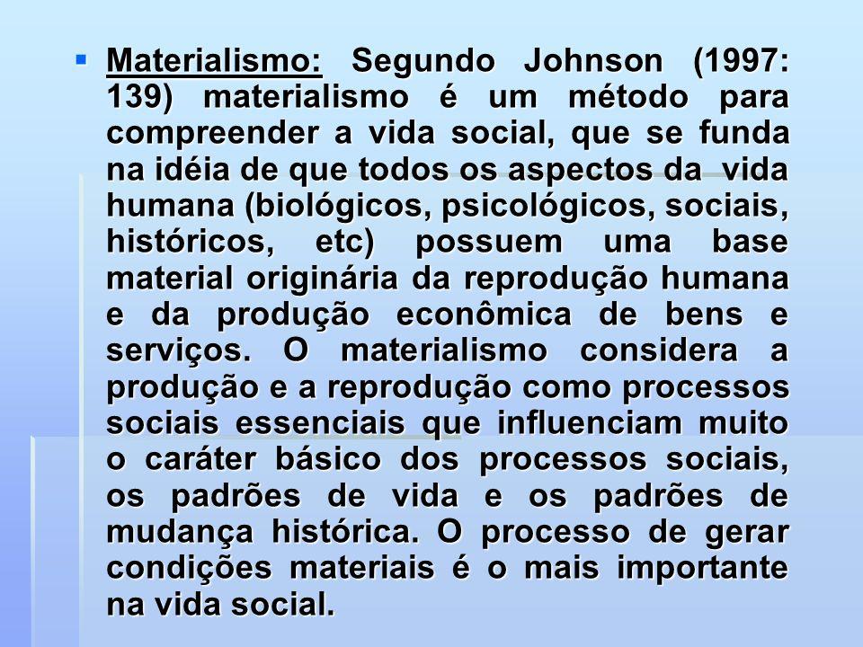 Materialismo: Segundo Johnson (1997: 139) materialismo é um método para compreender a vida social, que se funda na idéia de que todos os aspectos da v
