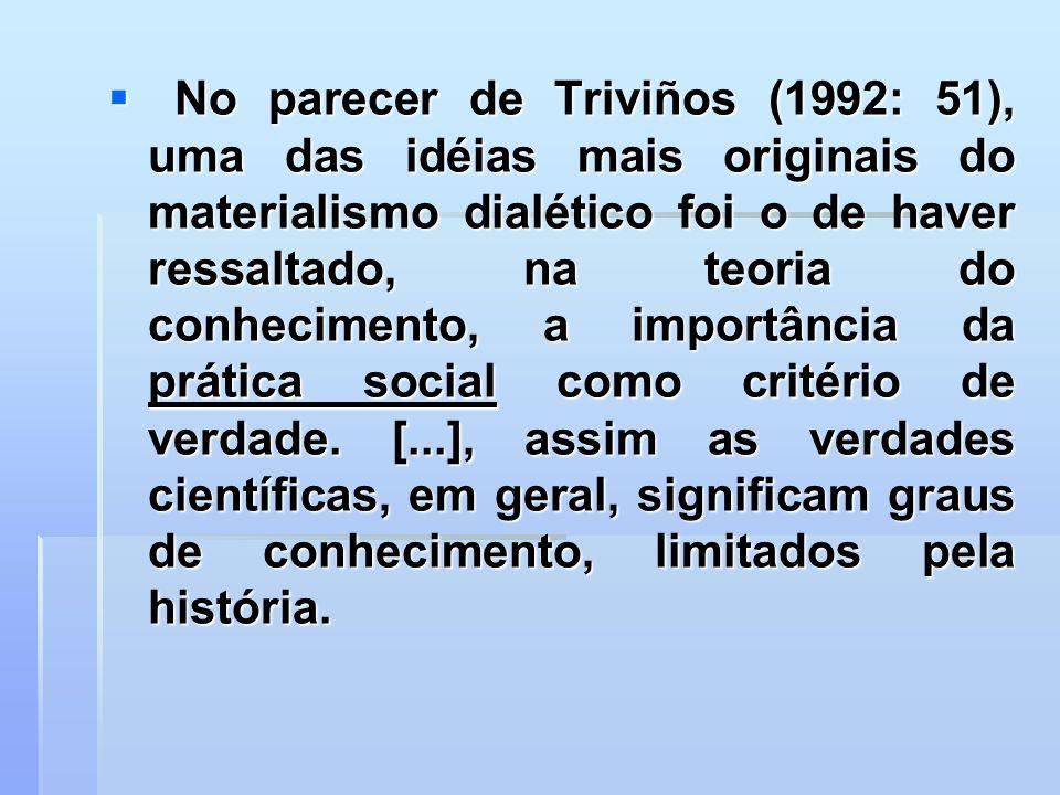 No parecer de Triviños (1992: 51), uma das idéias mais originais do materialismo dialético foi o de haver ressaltado, na teoria do conhecimento, a imp