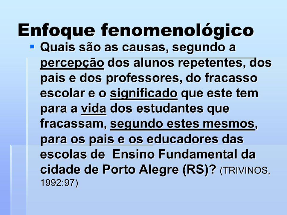Enfoque fenomenológico Quais são as causas, segundo a percepção dos alunos repetentes, dos pais e dos professores, do fracasso escolar e o significado