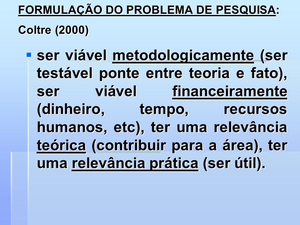 FORMULAÇÃO DO PROBLEMA DE PESQUISA: Coltre (2000) ser viável metodologicamente (ser testável ponte entre teoria e fato), ser viável financeiramente (d