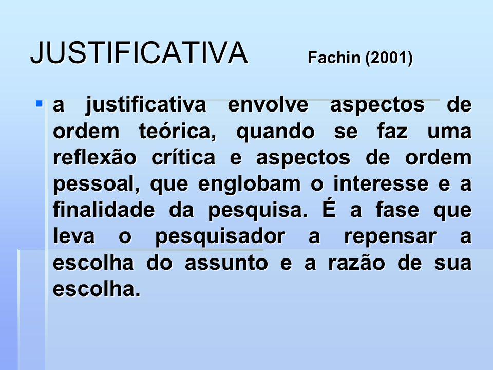 JUSTIFICATIVA Fachin (2001) a justificativa envolve aspectos de ordem teórica, quando se faz uma reflexão crítica e aspectos de ordem pessoal, que eng