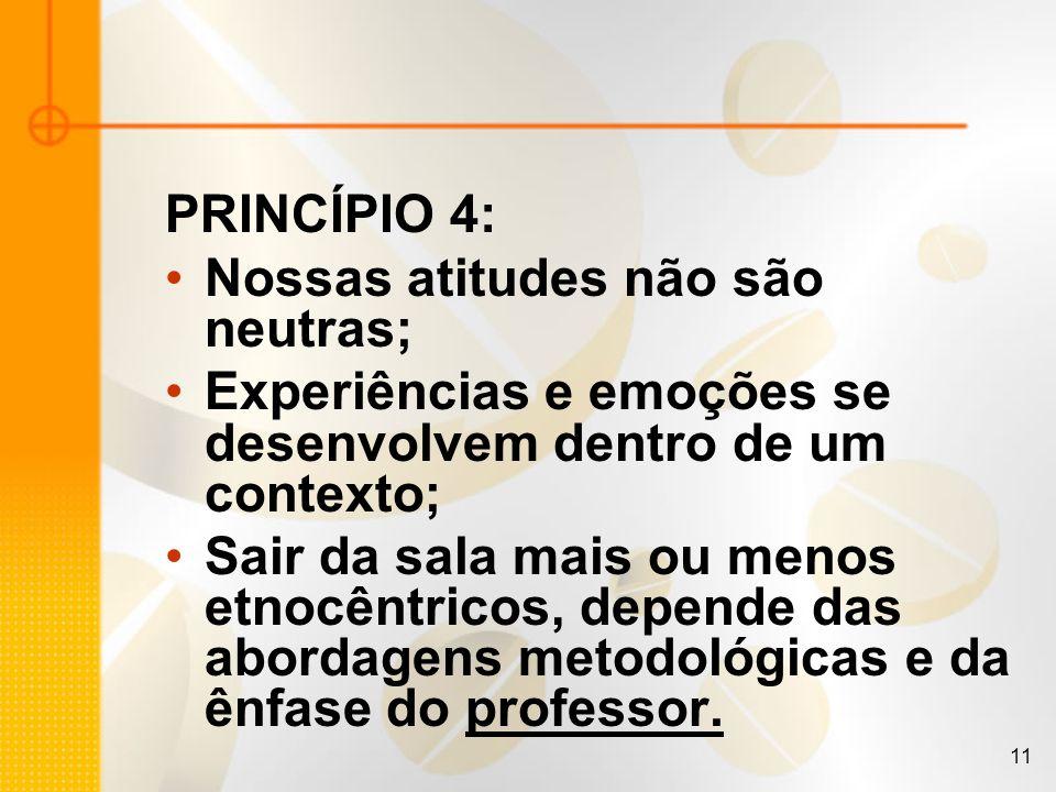 11 PRINCÍPIO 4: Nossas atitudes não são neutras; Experiências e emoções se desenvolvem dentro de um contexto; Sair da sala mais ou menos etnocêntricos