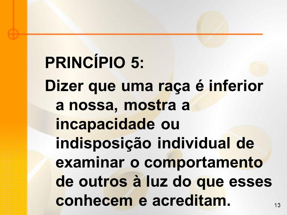13 PRINCÍPIO 5: Dizer que uma raça é inferior a nossa, mostra a incapacidade ou indisposição individual de examinar o comportamento de outros à luz do