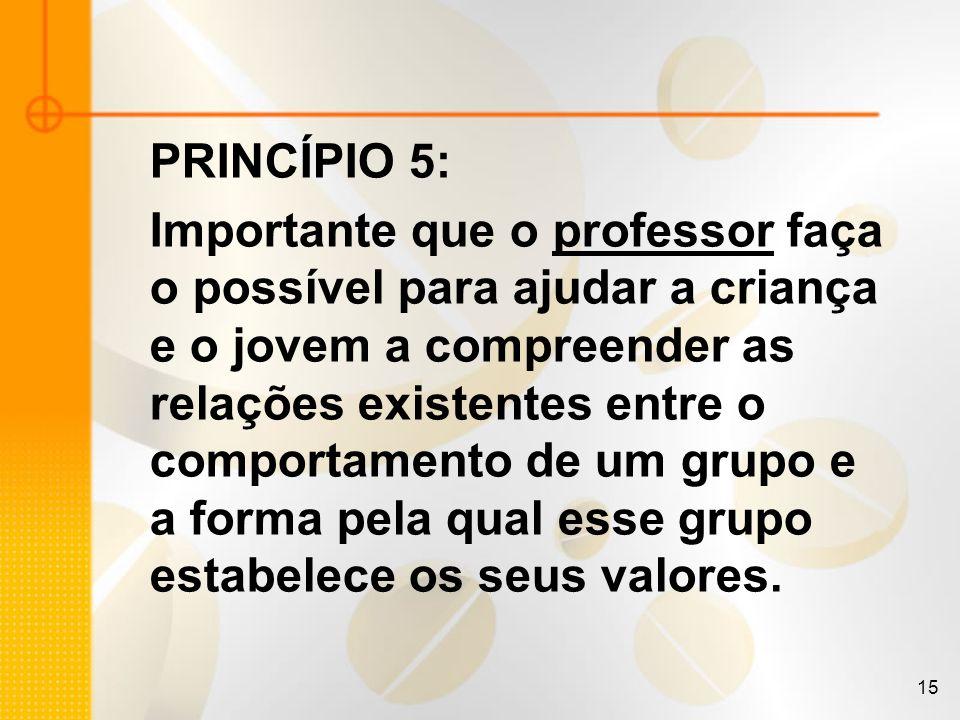 15 PRINCÍPIO 5: Importante que o professor faça o possível para ajudar a criança e o jovem a compreender as relações existentes entre o comportamento