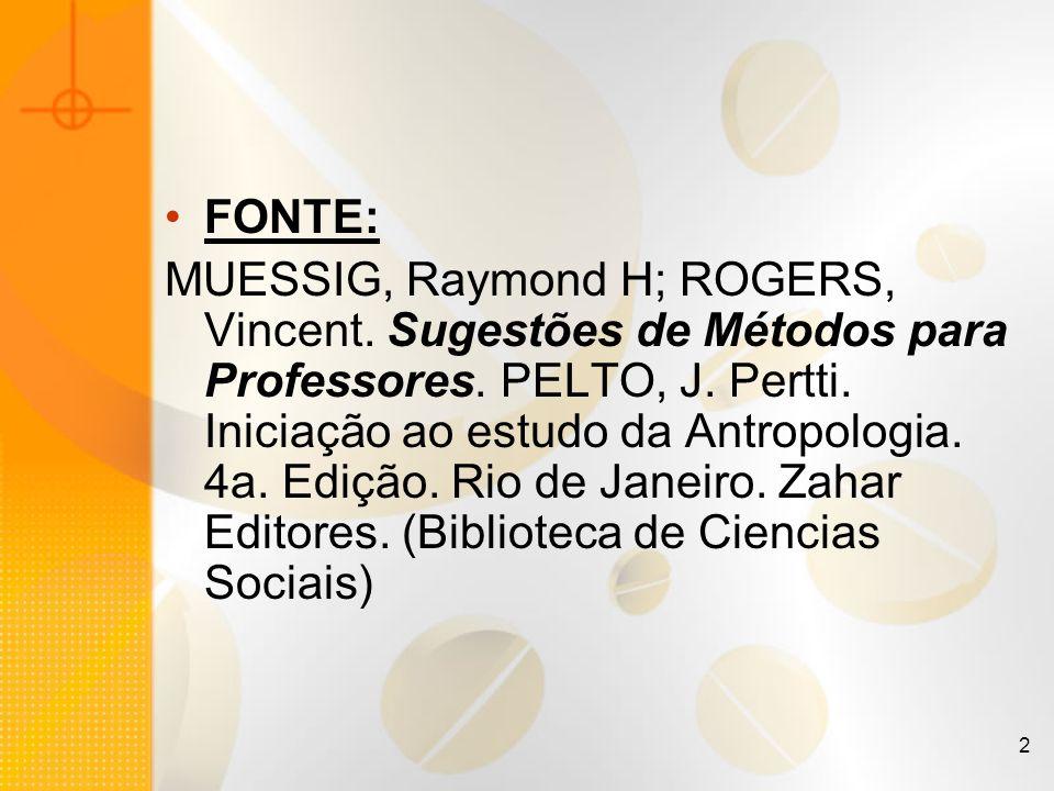 2 FONTE: MUESSIG, Raymond H; ROGERS, Vincent. Sugestões de Métodos para Professores. PELTO, J. Pertti. Iniciação ao estudo da Antropologia. 4a. Edição