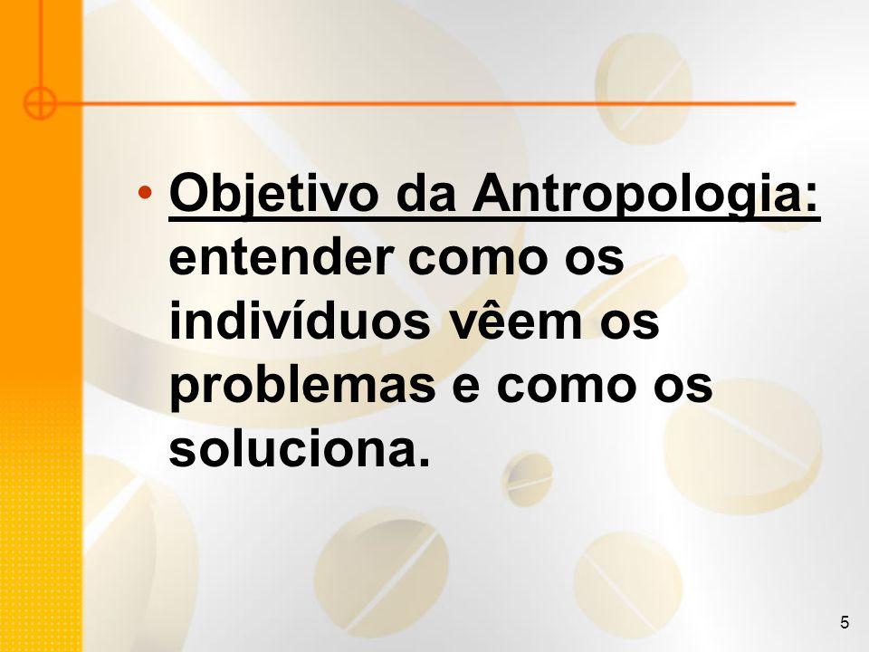 5 Objetivo da Antropologia: entender como os indivíduos vêem os problemas e como os soluciona.