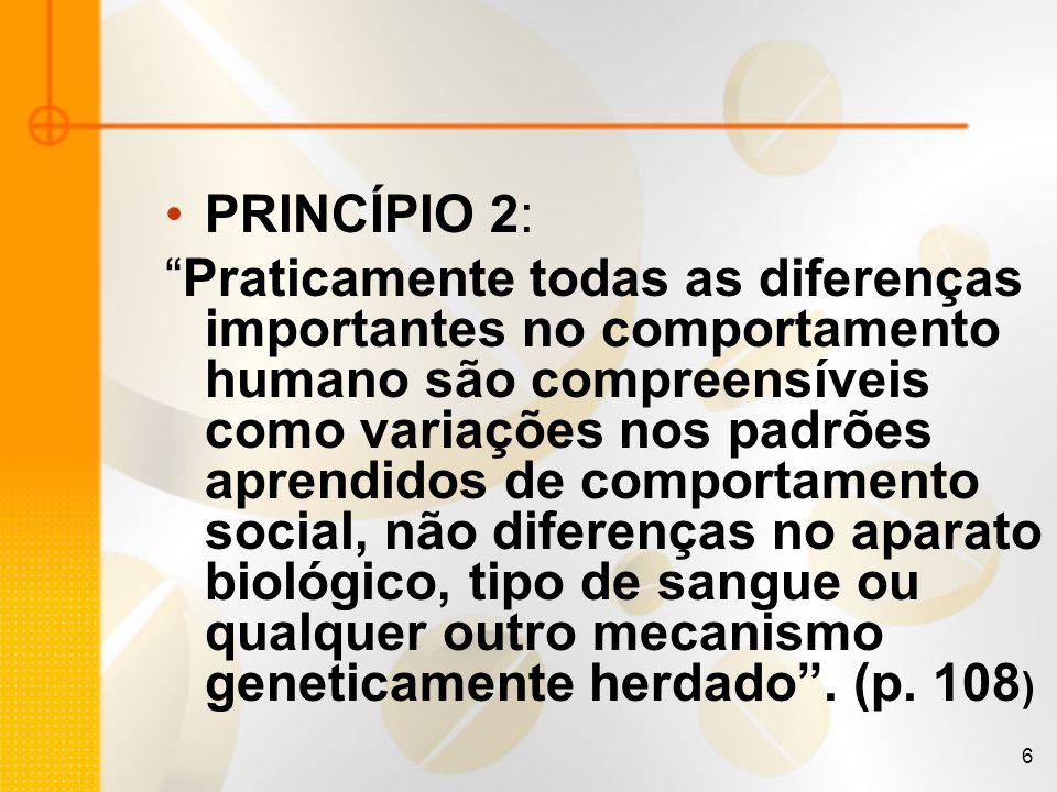 6 PRINCÍPIO 2: Praticamente todas as diferenças importantes no comportamento humano são compreensíveis como variações nos padrões aprendidos de compor