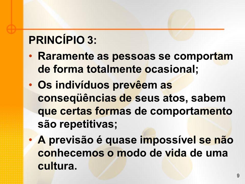 9 PRINCÍPIO 3: Raramente as pessoas se comportam de forma totalmente ocasional; Os indivíduos prevêem as conseqüências de seus atos, sabem que certas