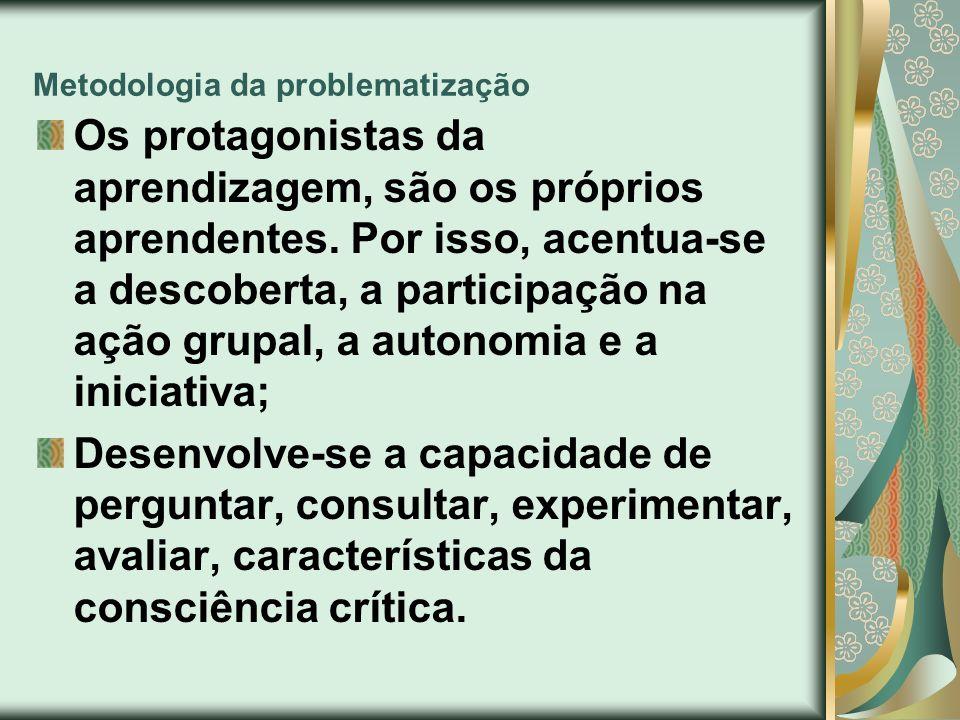 Metodologia da problematização Os protagonistas da aprendizagem, são os próprios aprendentes. Por isso, acentua-se a descoberta, a participação na açã