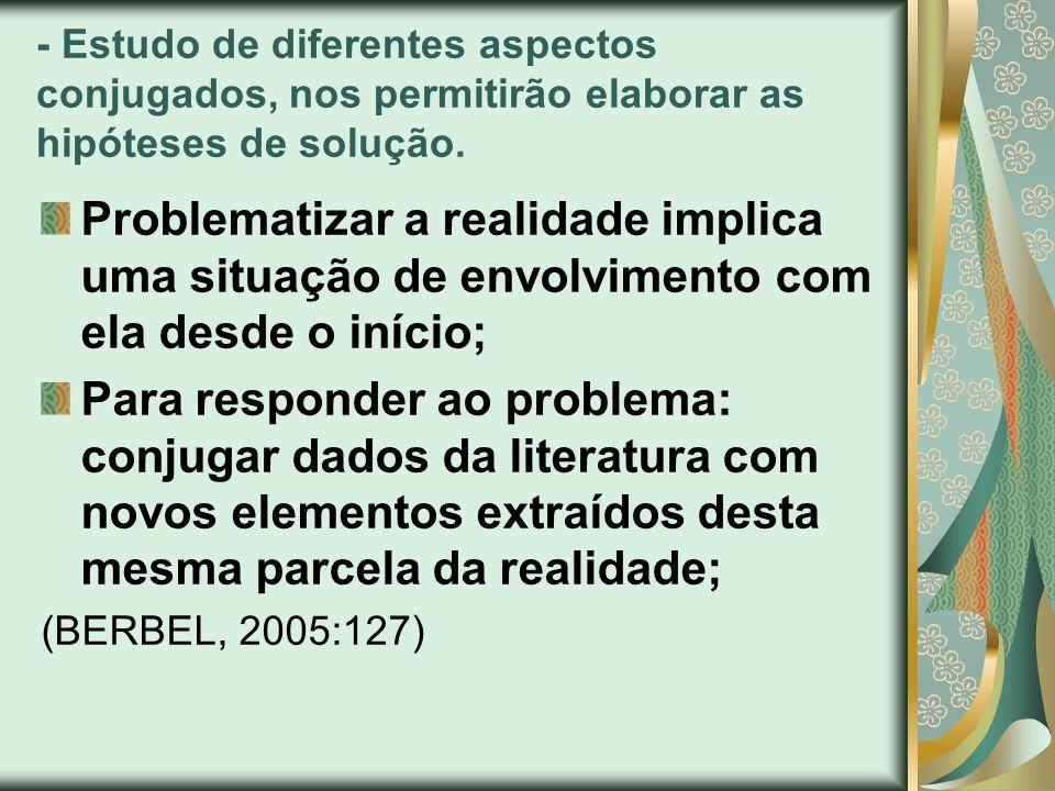 - Estudo de diferentes aspectos conjugados, nos permitirão elaborar as hipóteses de solução. Problematizar a realidade implica uma situação de envolvi