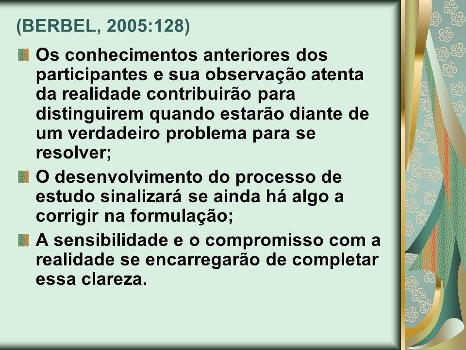 (BERBEL, 2005:128) Os conhecimentos anteriores dos participantes e sua observação atenta da realidade contribuirão para distinguirem quando estarão di