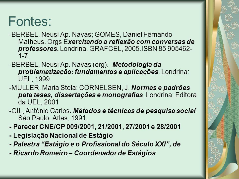Fontes: -BERBEL, Neusi Ap. Navas; GOMES, Daniel Fernando Matheus. Orgs Exercitando a reflexão com conversas de professores. Londrina. GRAFCEL, 2005.IS