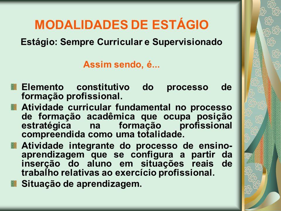 MODALIDADES DE ESTÁGIO Estágio: Sempre Curricular e Supervisionado Assim sendo, é... Elemento constitutivo do processo de formação profissional. Ativi