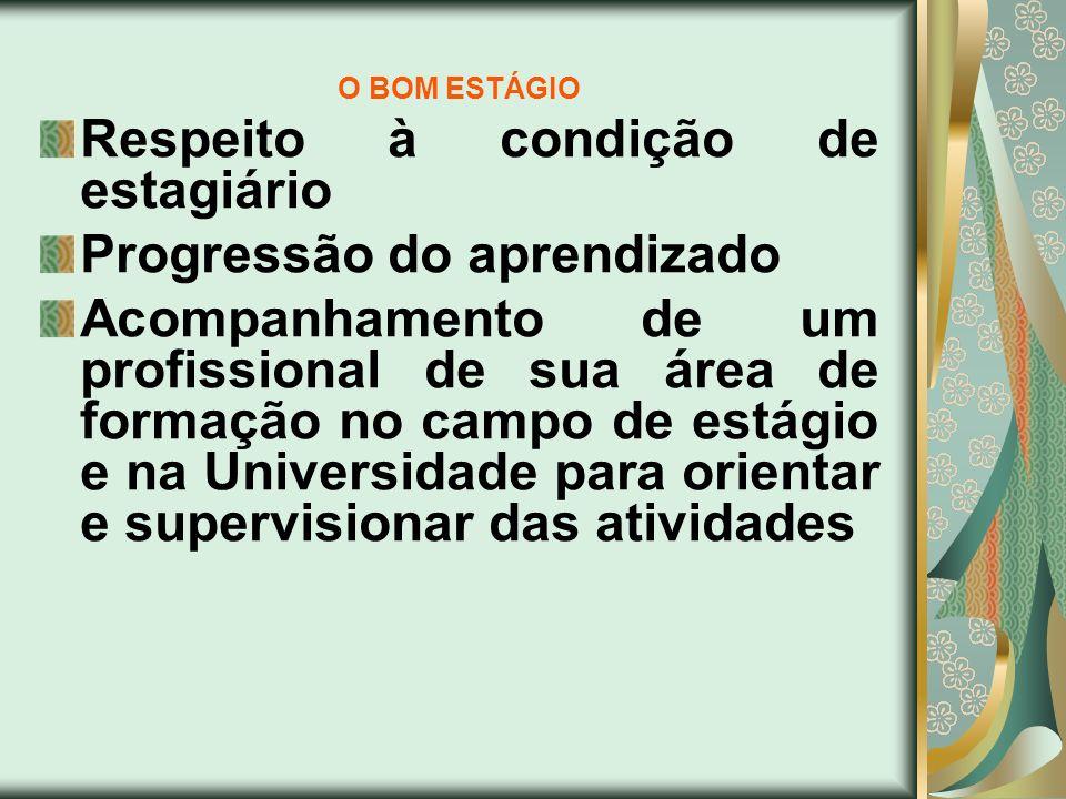O BOM ESTÁGIO Respeito à condição de estagiário Progressão do aprendizado Acompanhamento de um profissional de sua área de formação no campo de estági