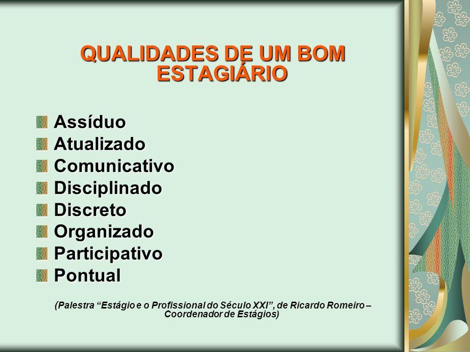 QUALIDADES DE UM BOM ESTAGIÁRIO AssíduoAtualizadoComunicativoDisciplinadoDiscretoOrganizadoParticipativoPontual ( Palestra Estágio e o Profissional do
