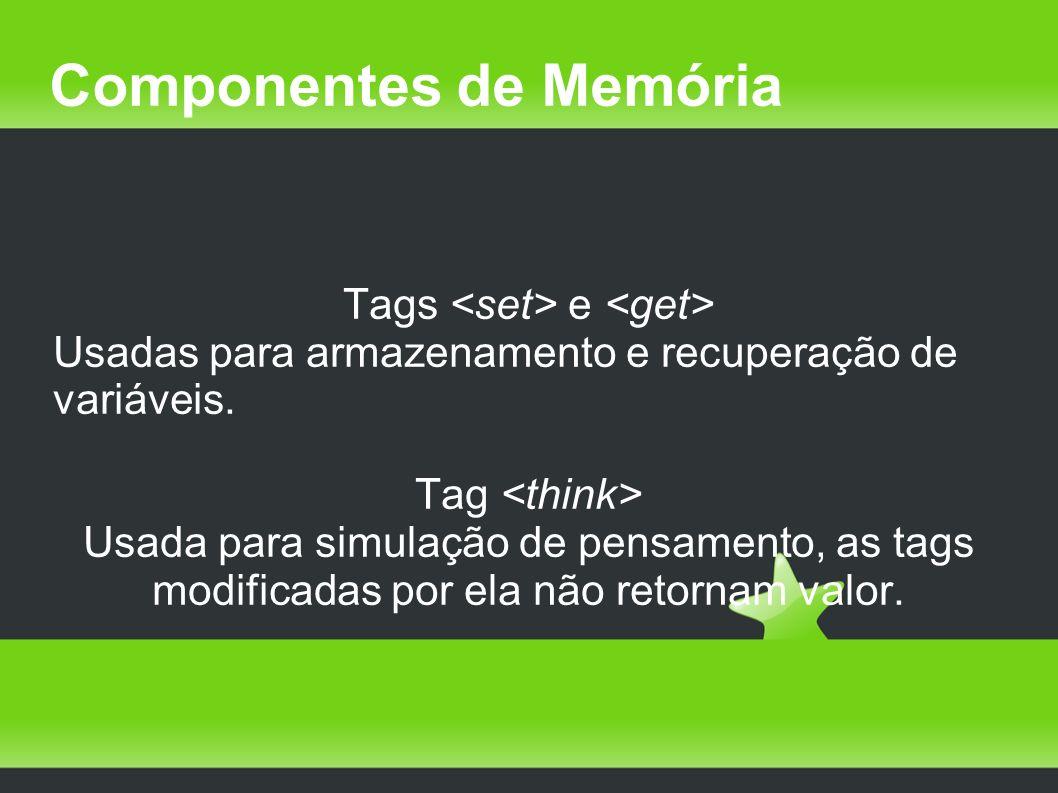 Componentes de Memória Tags e Usadas para armazenamento e recuperação de variáveis. Tag Usada para simulação de pensamento, as tags modificadas por el