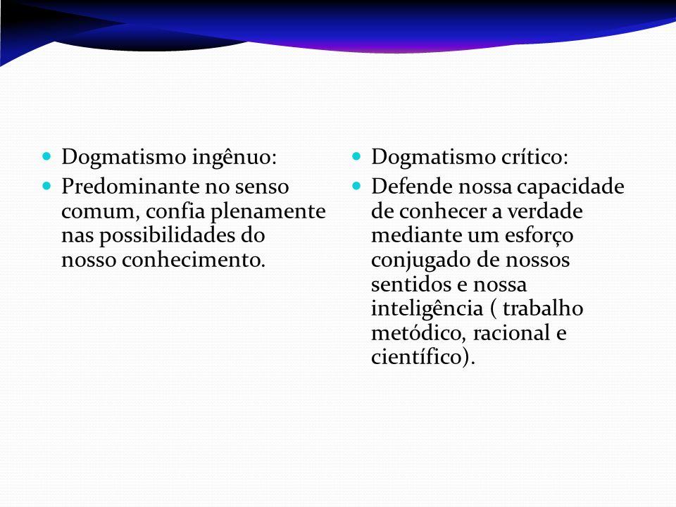 Dogmatismo ingênuo: Predominante no senso comum, confia plenamente nas possibilidades do nosso conhecimento. Dogmatismo crítico: Defende nossa capacid