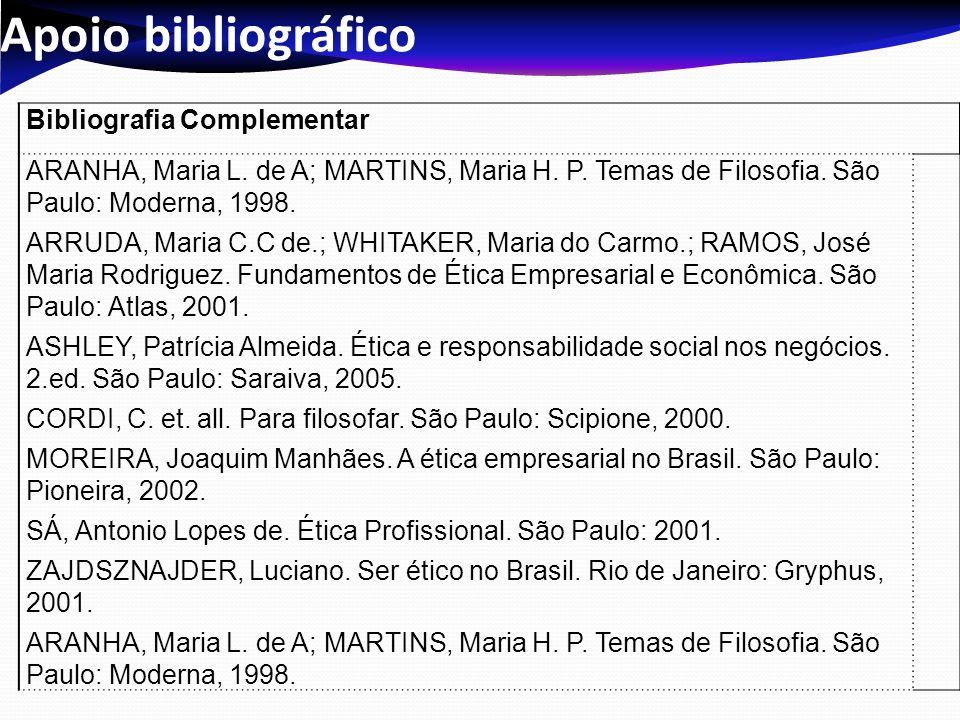 Apoio bibliográfico Bibliografia Complementar ARANHA, Maria L. de A; MARTINS, Maria H. P. Temas de Filosofia. São Paulo: Moderna, 1998. ARRUDA, Maria