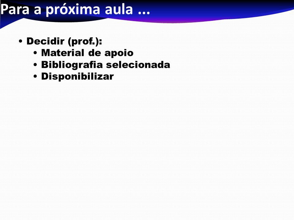 Para a próxima aula... Decidir (prof.): Material de apoio Bibliografia selecionada Disponibilizar