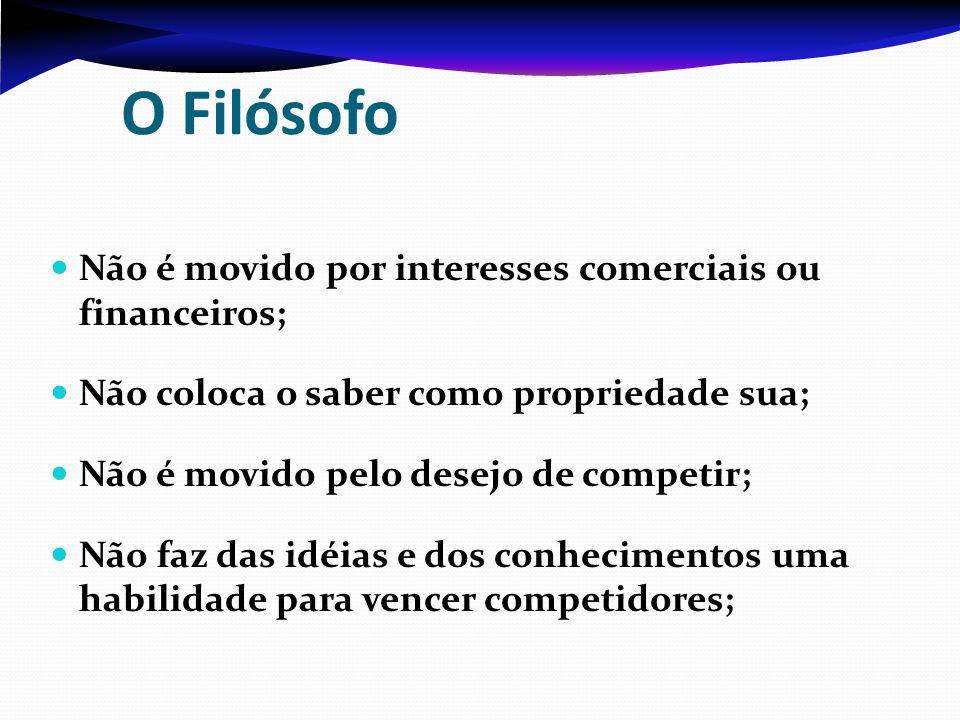 O Filósofo Não é movido por interesses comerciais ou financeiros; Não coloca o saber como propriedade sua; Não é movido pelo desejo de competir; Não f