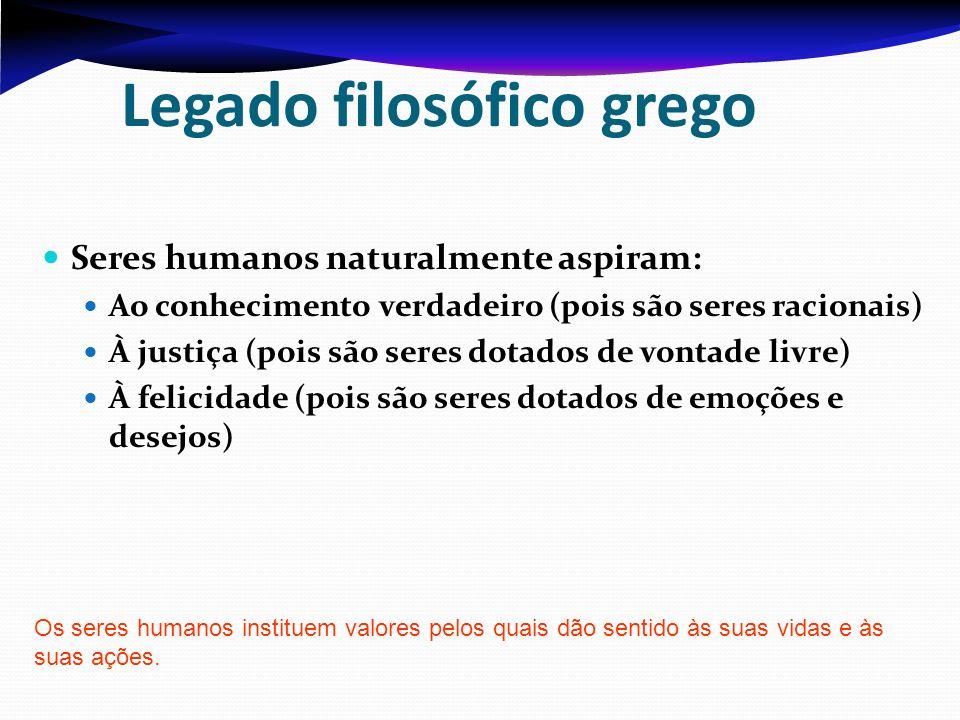 Legado filosófico grego Seres humanos naturalmente aspiram: Ao conhecimento verdadeiro (pois são seres racionais) À justiça (pois são seres dotados de