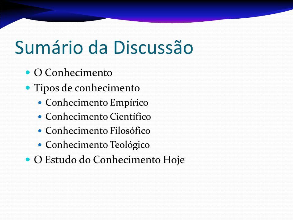 Sumário da Discussão O Conhecimento Tipos de conhecimento Conhecimento Empírico Conhecimento Científico Conhecimento Filosófico Conhecimento Teológico