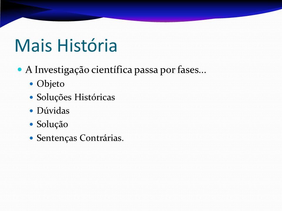 Mais História A Investigação científica passa por fases... Objeto Soluções Históricas Dúvidas Solução Sentenças Contrárias.