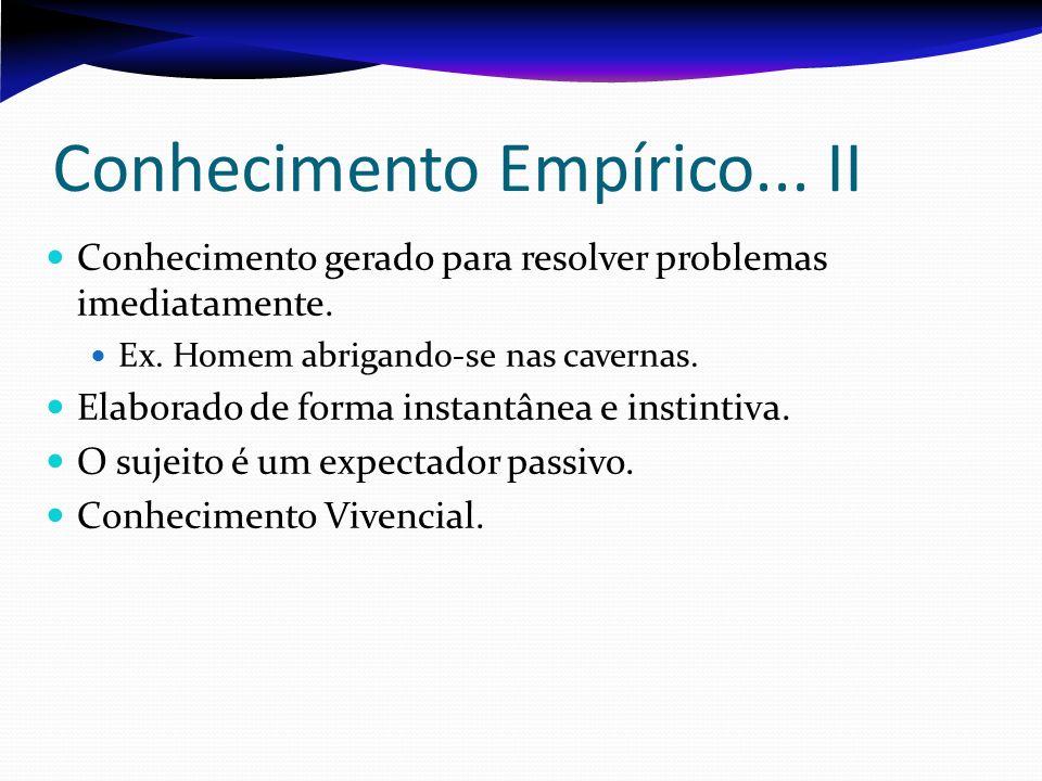 Conhecimento Empírico... II Conhecimento gerado para resolver problemas imediatamente. Ex. Homem abrigando-se nas cavernas. Elaborado de forma instant