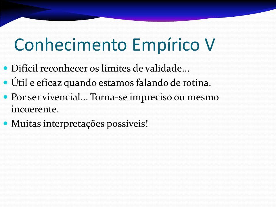 Conhecimento Empírico V Difícil reconhecer os limites de validade... Útil e eficaz quando estamos falando de rotina. Por ser vivencial... Torna-se imp