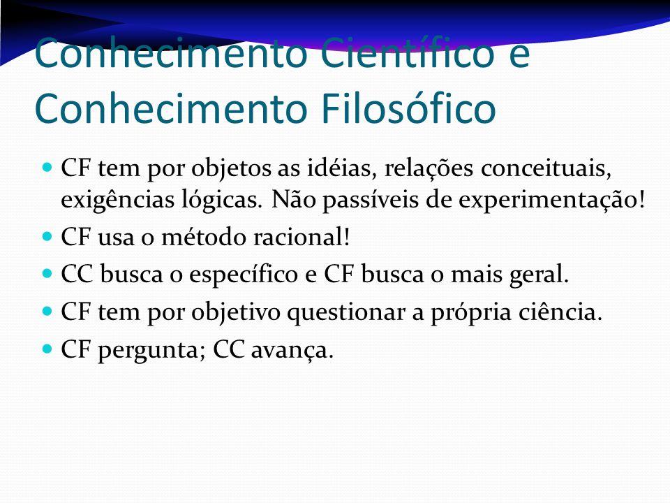 Conhecimento Científico e Conhecimento Filosófico CF tem por objetos as idéias, relações conceituais, exigências lógicas. Não passíveis de experimenta